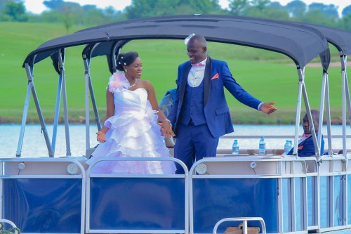Joseph and Sandra take a boat cruise on their wedding, One Love Beach