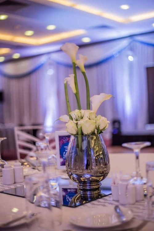 Glass centerpieces by Viable Options