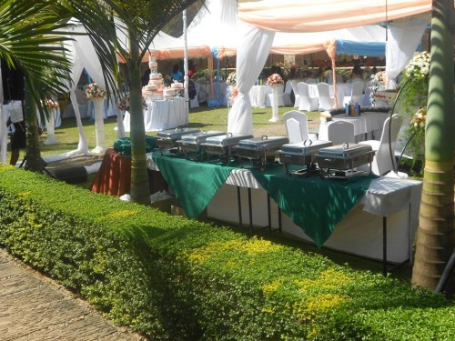 Chafing dishes for a wedding at Green valley hotel in Ggaba