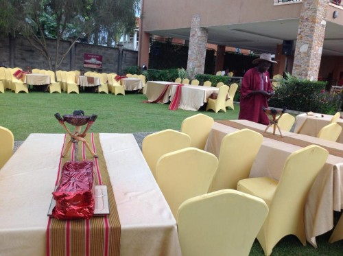 A dinner setup for the Rotary club Ggaba for a cultural night at Green valley hotel