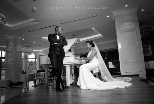 Chomba the bride and her better half at their wedding photo shot with MultiWays Photography