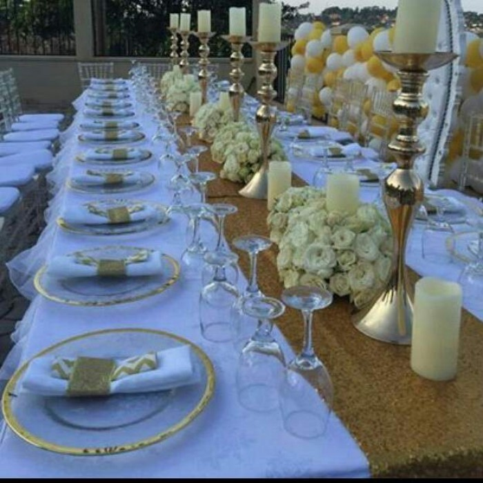 Gold and white bridal shower decorations by Moze Decoration World