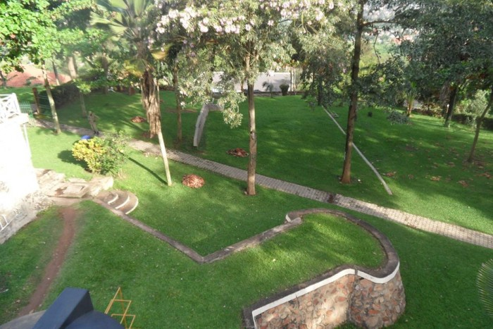 The green gardens at Hotel International in Muyenga