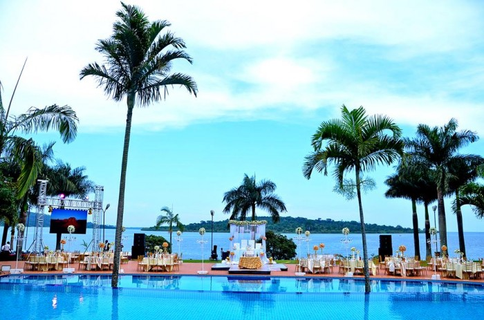 A classic view of the pool side venue at the Commonwealth Resort Munyonyo as captured by Globetek Entertainment