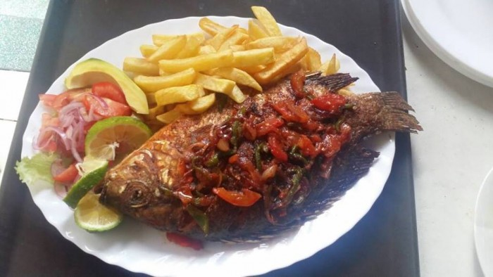 Fried fish & chips served at Jevine Hotel