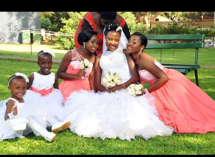 Makerere University lecturer Flavia Namagembe and here entourage dressed by Bloodworth