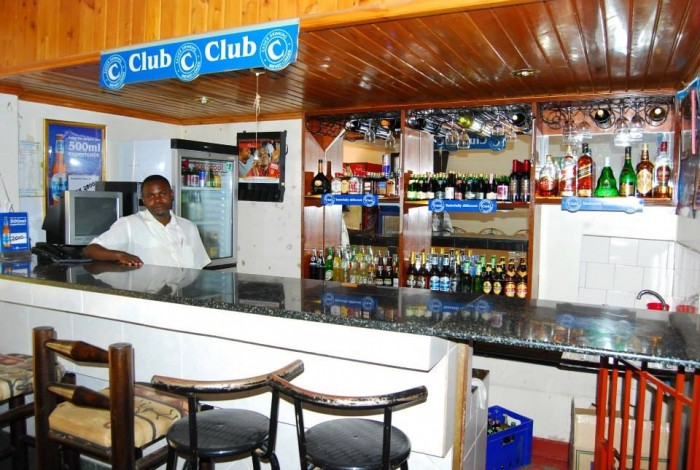 The bar section at the Green valley hotel in Ggaba