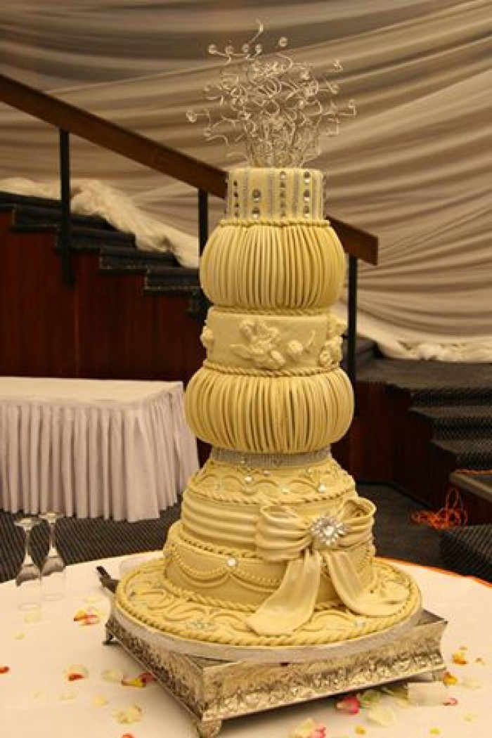A unique wedding cake baked by Sarahs Cakes
