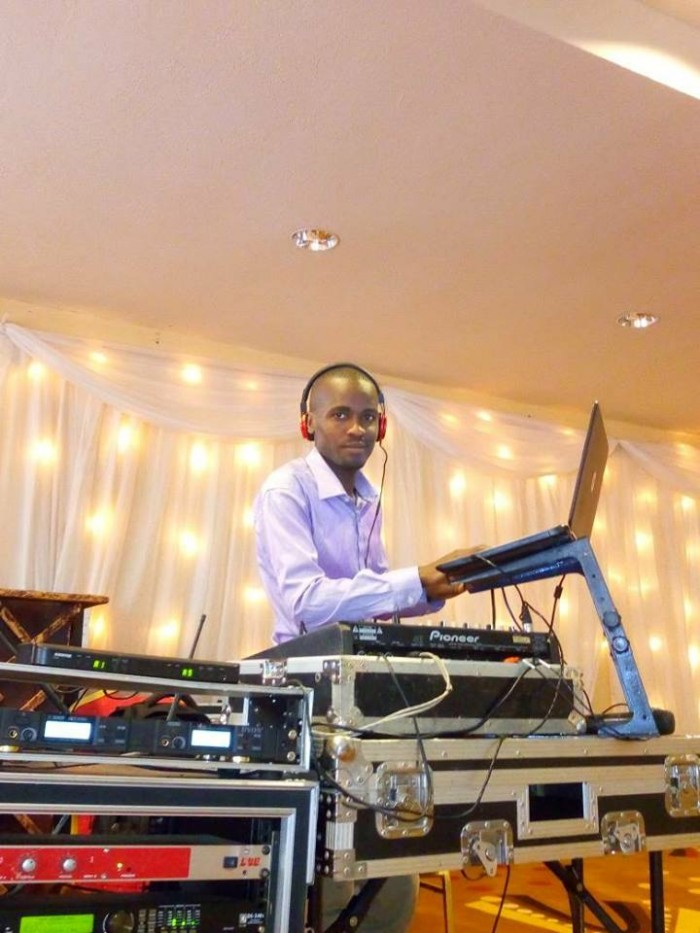 Dj Jona on the turntables for Moses Kasirye's wedding at Royal Suites