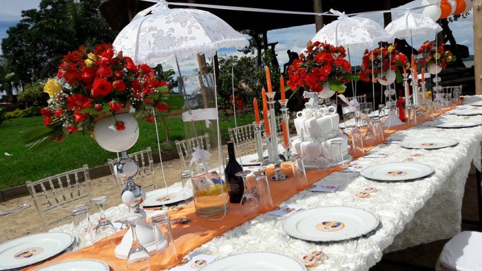 Red & white Bridal shower decorations by Barbie Kyagulanyi at One Love Beach Busabala