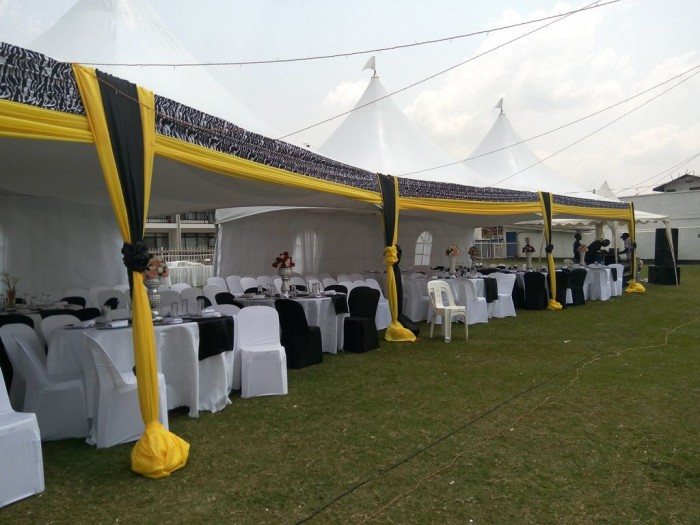 Yellow, black and white event decorations by Mr Events