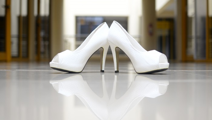 An all white bridal Shoe