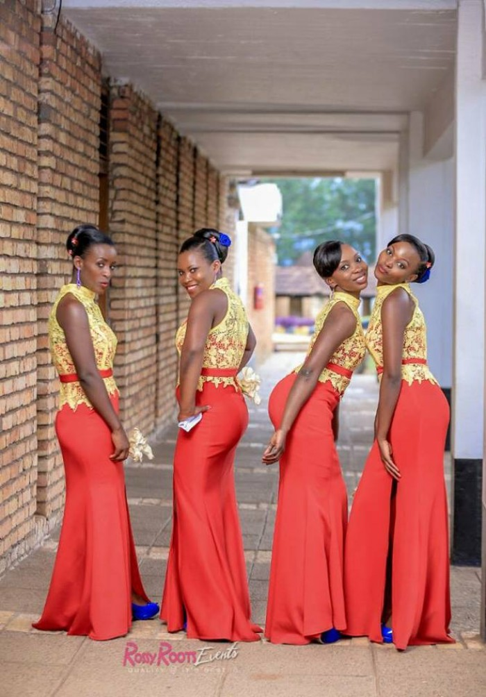 Beautiful Ugandan bridesmaids pose during a wedding photo shoot powered by Rossy Roots Events