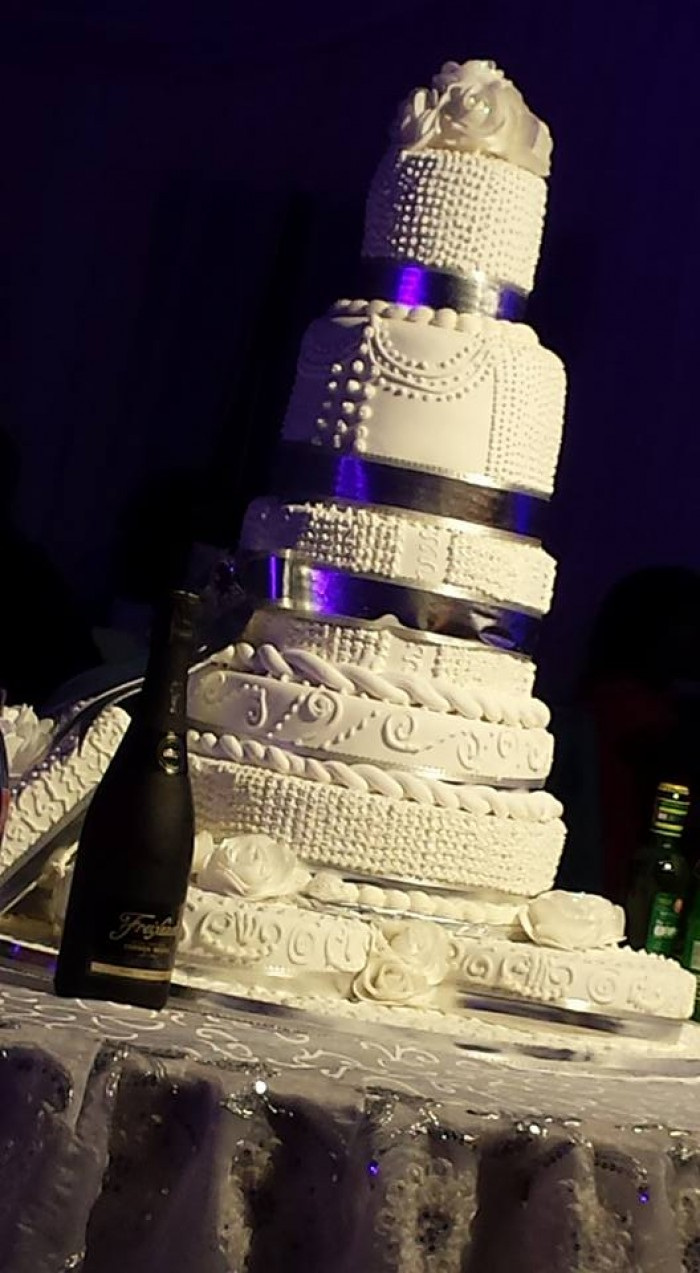 A wedding cake supplied by New Day Bakery & Catering Services