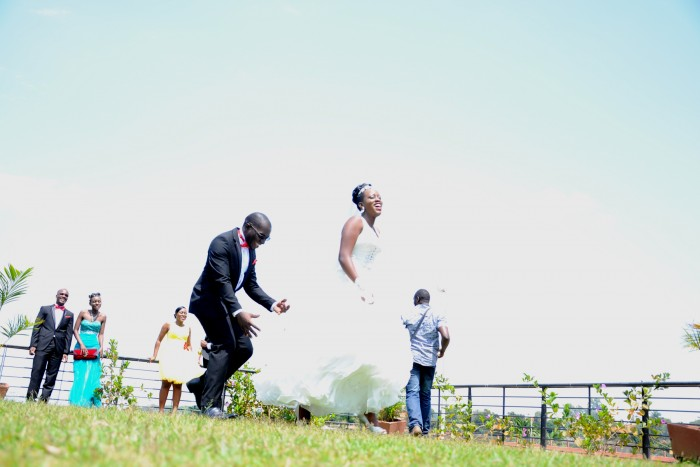 Newton & Doreen during their wedding photo shoot at the Commonwealth Resort in Munyonyo