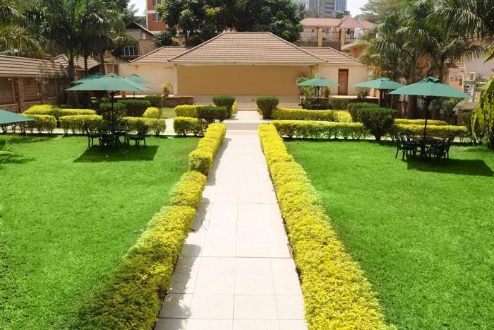 Beautiful grounds at Emerald Hotel Kampala