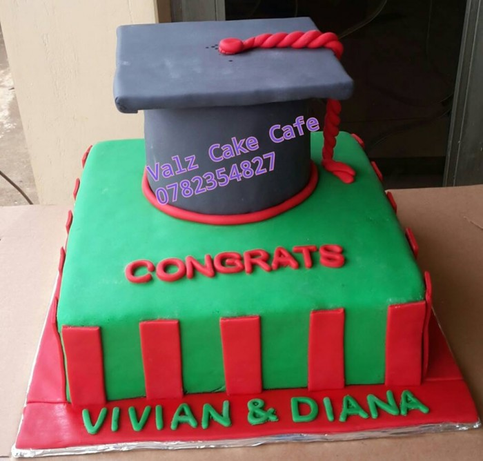 Vivian and Diana's graduation cake baked by Valz Cake Cafe