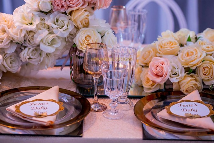 Coral + Gold + White Baby Shower
