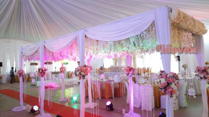 White & Pink Wedding Decoration theme by Bloven Events
