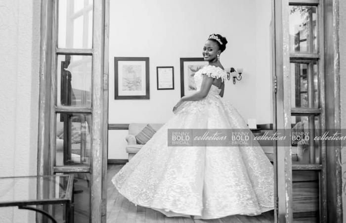 Sophie Tash clad in a Penny Bold wedding dress