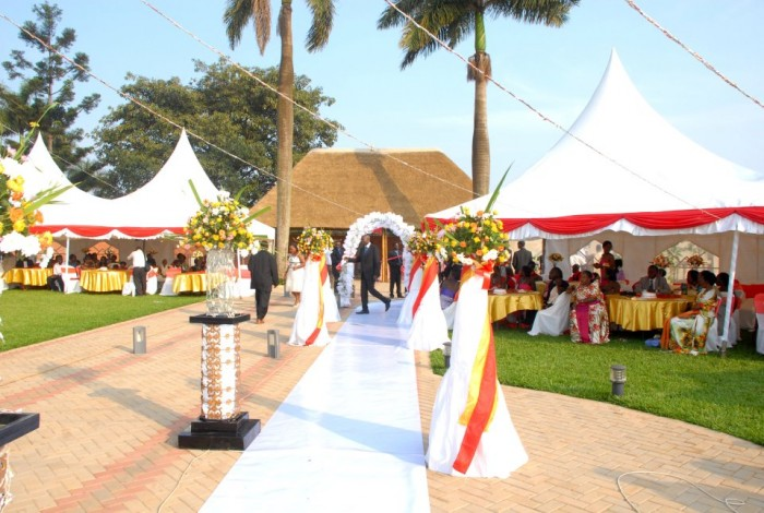 Red & White wedding decorations at Mawanda Royal Gardens