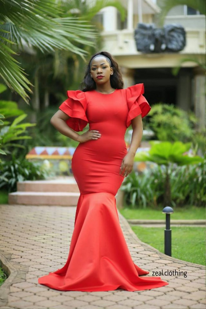 Fitting red gown designed by Zeal Clothing
