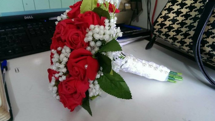 Natural red rose and white flower bridal bouquet by Bridal Bouquets By Janet