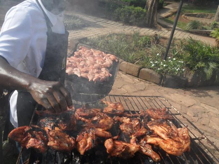 Roasted chicken at Hotel International in Muyenga