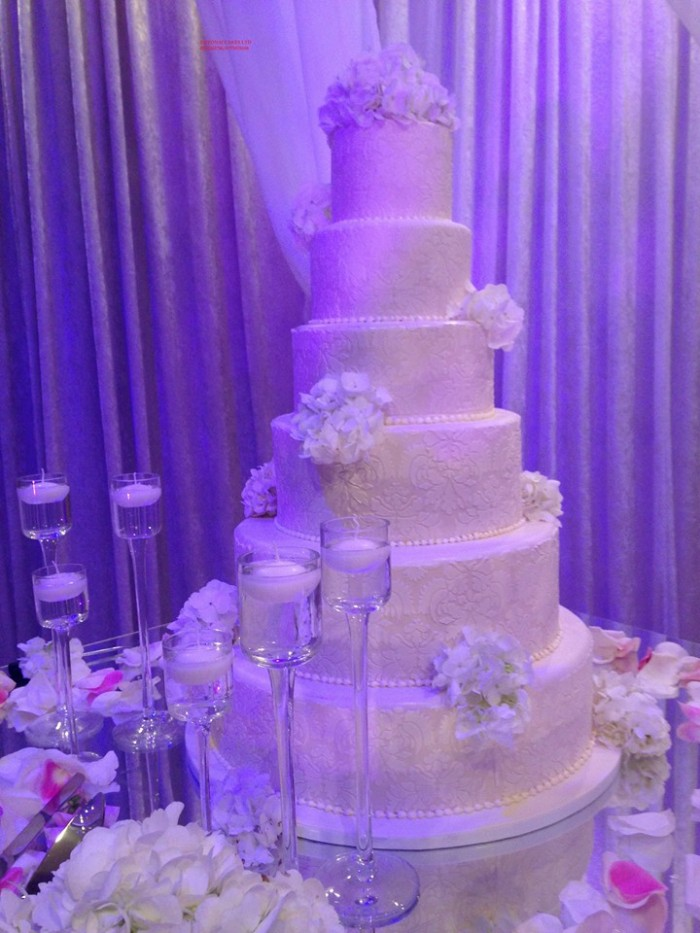 A six tier wedding cake baked by Elieonai Cakes