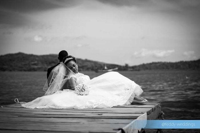 Black and white photo of a Bride & Groom at the docks