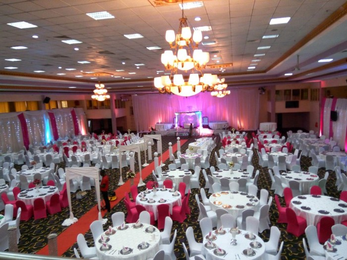 Pink and white inspired wedding decorations by Mr Events at Hotel Africana, Kampala