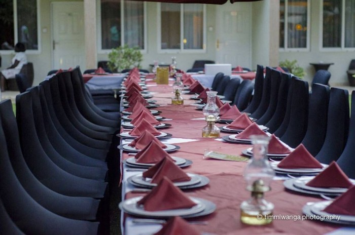 Private poolside dinner setting at Café Mamba