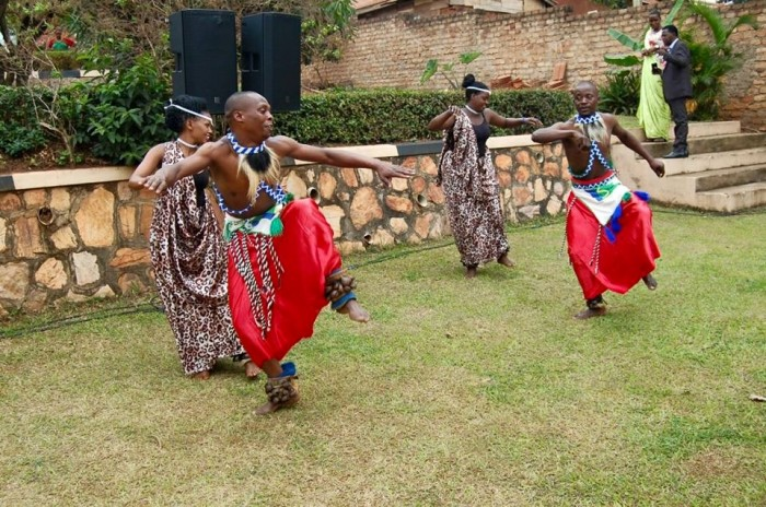 A dance performance at Jessica and Smith's wedding by Nyange Cultural Performers