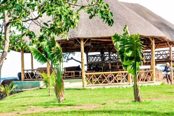 The tropical art crafted building at One Love Beach Busabala