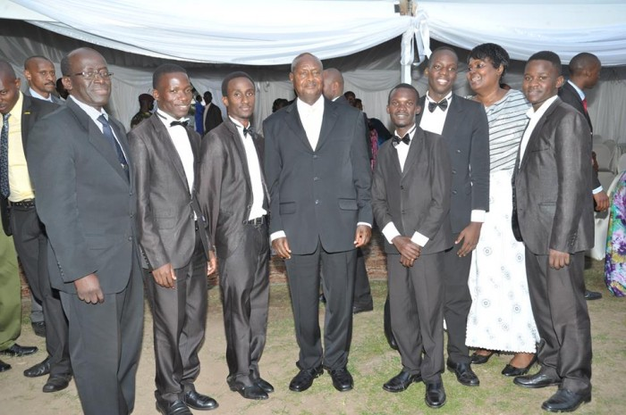 The Cape brothers posing with President Museveni at an event in Rwakitura