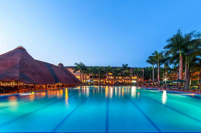 The Olympic size swimming pool at Commonwealth Resort Munyonyo