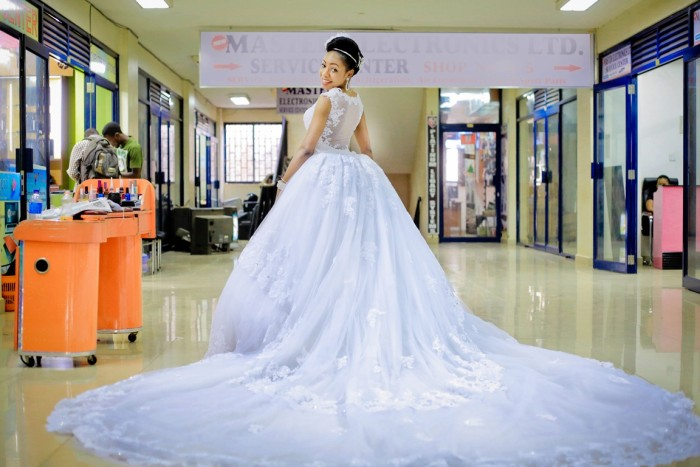 The gorgeous Asha in her show stopping wedding dress at Equatorial Mall, Kampala, Agapix Photography