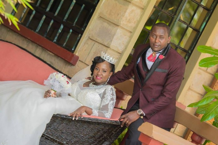 Kenyan bride Lillian wore a crown and jewelry from Bride to be