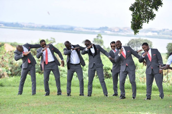 Groomsmen in grey suits at wedding photo shoot powered by Globetek Entertainment