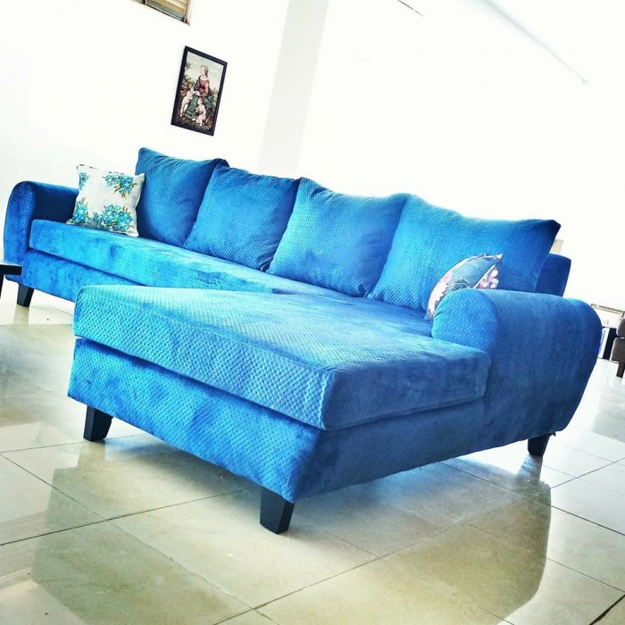 Pale blue couches from The Furniture Workshop