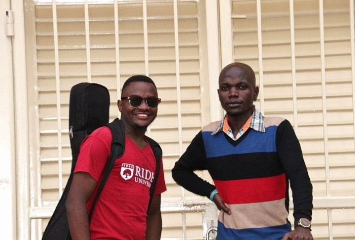 L-R:  David Tayebwa Tabzy and lead violinist Allan Watson Waswa of The Tabs Uganda