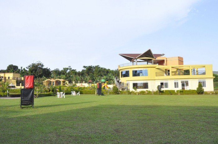 The Spacious gardens of Nican Resort in Entebbe