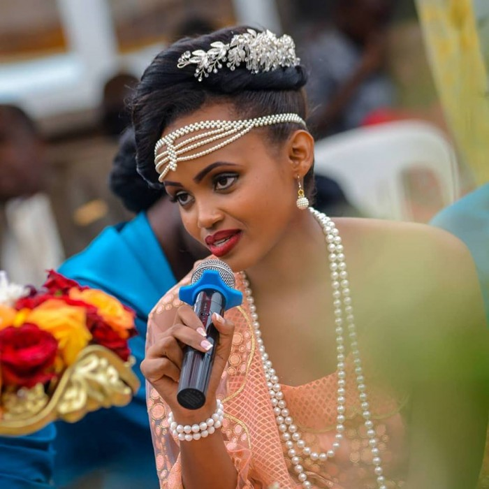 A beautiful bride giving her speech at kweranga/traditional wedding