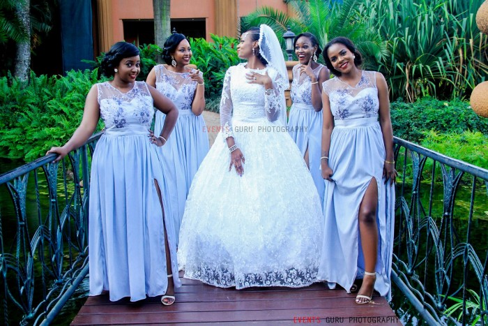 bride & her maids at a wedding photo shoot at Serena Hotel Kampala