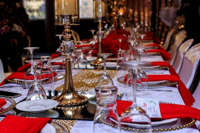 Red, White and Gold Baby Shower Decor by Essie Events