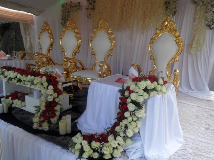 Wedding high table decorations at Hotel International in Muyenga