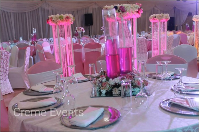 Royal pink and white wedding theme