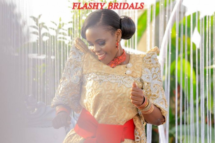 Barbara's Kwanjula Bridal Wear: Gold and Red Gomesi