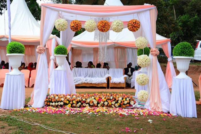 Peach and White inspired customary wedding decorations by SPICE Decorators & Events Managers