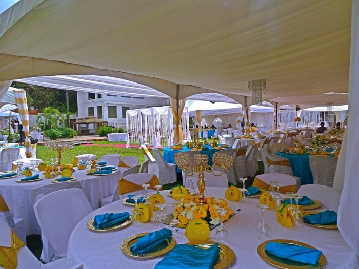 Wedding reception decor setup at Fairway Hotel